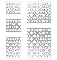 five white puzzle vector image