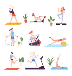 girls doing sports with sports equipment in vector image