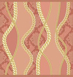 Golden chains seamless pattern on snake background vector