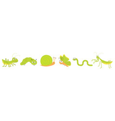 Green insect icon set line mantis praying vector