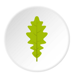 green oak leaf icon circle vector image