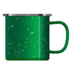 Green tin cup vector