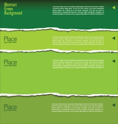 Green torn paper background with space for text vector