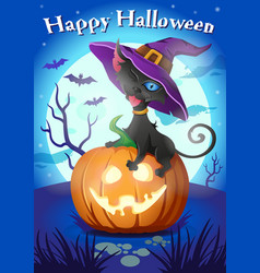 halloween black cat in witch hat on vector image