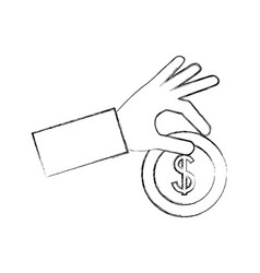 hand with coin dollar isolated icon vector image