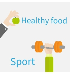 Hands holding dumbell and apple Sport Fitness vector