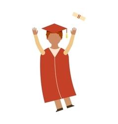 Happy graduation people uniform throwing caps vector image
