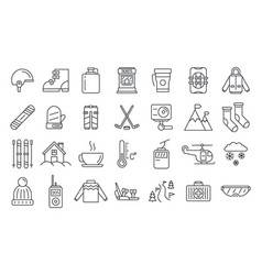 holiday ski resort icon set outline style vector image