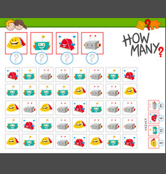 How many robots cartoon counting game vector