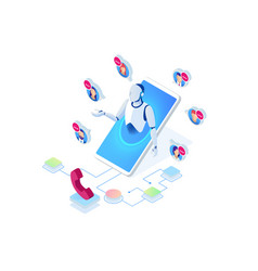 Isometric communication support phone operator vector