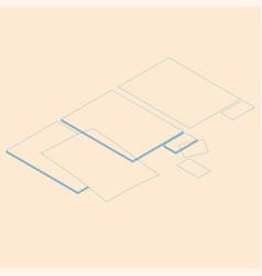isometric flat blank sheets vector image
