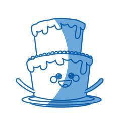 kawaii cake cream sweet bakery happy vector image