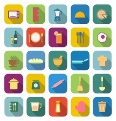 Kitchen color icons with long shadow vector image