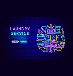 laundry service neon banner design vector image