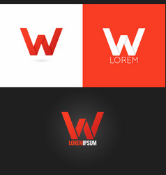 letter W logo design icon set background vector image