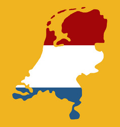 map of netherlands with flag isolated white vector image