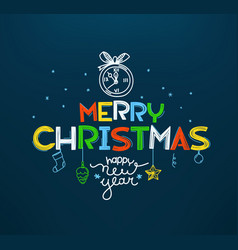Merry christmas and happy new year doodling style vector