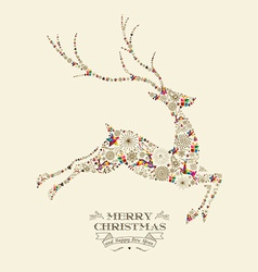 Merry Christmas vintage reindeer greeting card vector image