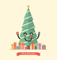 merry christmas with happy christmas tree vector image