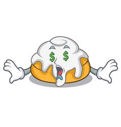 Money eye cinnamon roll mascot cartoon vector