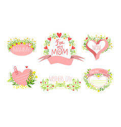 mothers day elegant card templates set holiday vector image