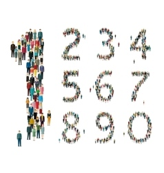 Numbers formed out of people Top view vector