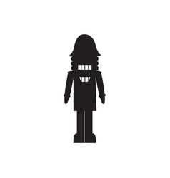 nutcracker christmas toy black silhouette flat vector image