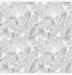 outline palm leaves white background seamless vector image