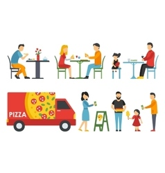 People in a flat interior Pizza icons set vector image