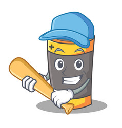 Playing baseball battery character cartoon style vector