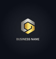 polygon shape abstract business gold logo vector image