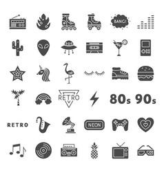 Retro solid web icons vector