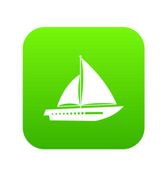 sailing yacht icon digital green vector image