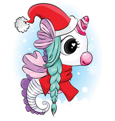 seahorse with santa hat and scarf christmas card vector image