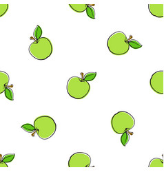 Seamless pattern with falling green apples vector