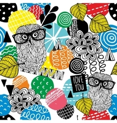 Seamless pattern with owls in eyeglasses vector