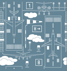seamless pattern with passenger airplanes vector image