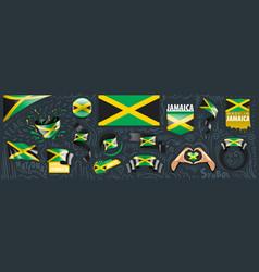Set national flag jamaica in vector