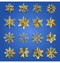 Set of gold snowflakes vector