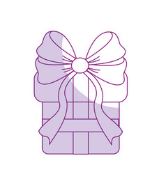 Silhouette gift present with ribbon decoration to vector
