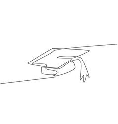 Single one line drawing graduation hat vector