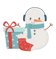 snowman gift box sock celebration merry christmas vector image