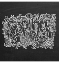 Spring chalk board background vector