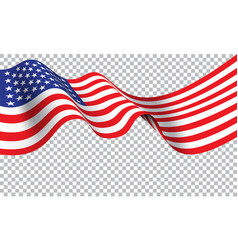 united state america flag wave on transparent b vector image