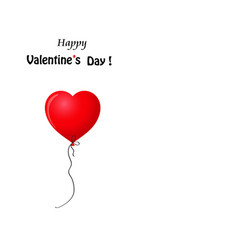 valentines template with red realistic heart vector image