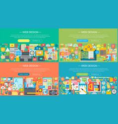 web design horizontal flat concept design banners vector image