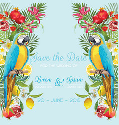 wedding card with tropical flowers fruits parrot vector image