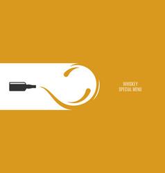 whiskey banner with scotch whisky bottle splash vector image