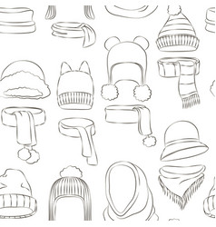 Winter or autumn headwear collection pattern vector