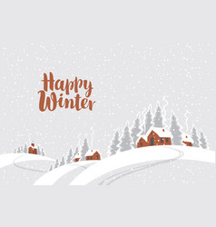 Winter rural landscape with snow covered village vector